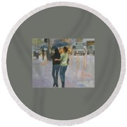 Walking With You Round Beach Towel