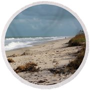 Round Beach Towel featuring the photograph Walks On The Beach by Megan Dirsa-DuBois