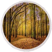 Walkway In The Autumn Woods Round Beach Towel