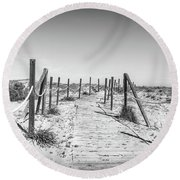 Round Beach Towel featuring the photograph Walkway In The Dunes. by Gary Gillette