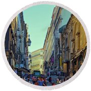 Round Beach Towel featuring the photograph Walkway Over The Street - Lisbon by Mary Machare