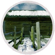 Round Beach Towel featuring the photograph Walkway To An Old Barn by Jeff Swan