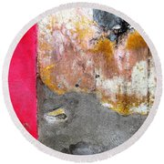 Round Beach Towel featuring the photograph Wall Abstract 151 by Maria Huntley