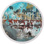 Wall Abstract 98 Round Beach Towel