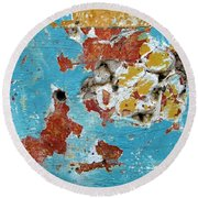 Wall Abstract 99 Round Beach Towel