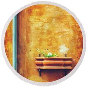 Round Beach Towel featuring the photograph Wall Gutter Vase by Silvia Ganora