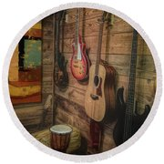 Wall Of Art And Sound Round Beach Towel