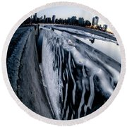 Wall Of Ice And Chicago Skyline At Dusk  Round Beach Towel