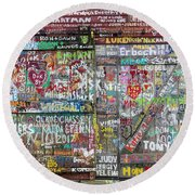 Round Beach Towel featuring the photograph Wall Of Love by Joel Witmeyer