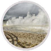 Round Beach Towel featuring the photograph Wall Of Steam by Sue Smith