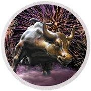 Wall Street Bull Fireworks Round Beach Towel