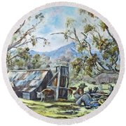 Wallace Hut, Australia's Alpine National Park. Round Beach Towel
