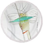 Wallace's Standardwing Bird Of Paradise Round Beach Towel by Keshava Shukla