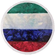 Walls Of The New Jerusalem Round Beach Towel
