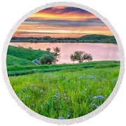 Wally Baskets Above Contra Loma  Round Beach Towel