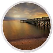 Walnut Beach Pier Round Beach Towel