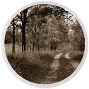 Round Beach Towel featuring the photograph Walnut Lane Antiqued by Melissa Lane