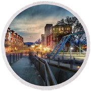 Walnut Street Circle Sunset Round Beach Towel