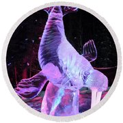 Walrus Ice Art Sculpture - Alaska Round Beach Towel by Gary Whitton