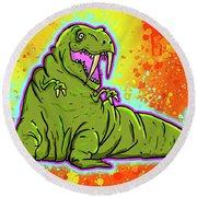 Walrusaurus Rex Round Beach Towel