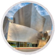 Walt Disney Concert Hall - Los Angeles Round Beach Towel by Jim Carrell