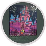 Walt Disney World Cinderrela Castle Round Beach Towel by Jonathon Hansen
