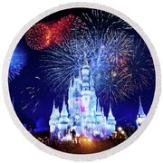 Walt Disney World Fireworks  Round Beach Towel