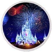 Walt Disney World Fireworks  Round Beach Towel by Mark Andrew Thomas