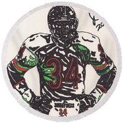 Walter Payton Round Beach Towel by Jeremiah Colley