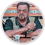 Round Beach Towel featuring the painting Walter Sobchak by Tom Roderick