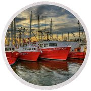 Round Beach Towel featuring the photograph Wanchese Fleet Hampton by Jerry Gammon