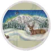 Round Beach Towel featuring the painting Wanderer At Rest by Dawn Senior-Trask