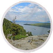 Round Beach Towel featuring the photograph Wandering The Rocky Slopes by Lynda Lehmann
