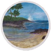Round Beach Towel featuring the painting Wanna Go by Margaret Bobb