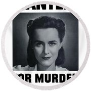 Housewife Wanted For Murder - Ww2 Round Beach Towel