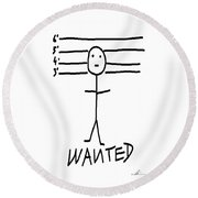 Round Beach Towel featuring the drawing Wanted - Stickman  by Marianna Mills