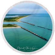 Waquiot Bay Breakwater Round Beach Towel