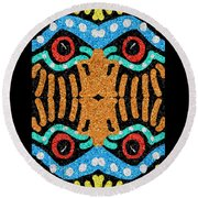 War Eagle Totem Mosaic Round Beach Towel