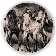 War Horses Round Beach Towel