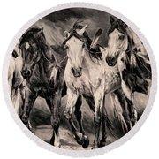 War Horses Round Beach Towel