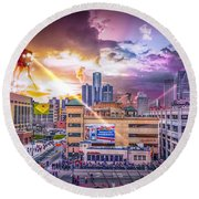 Round Beach Towel featuring the photograph War Of The Worlds Detroit By Nicholas Grunas by Nicholas  Grunas
