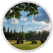Round Beach Towel featuring the photograph WAR by Tgchan