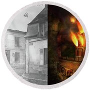 Round Beach Towel featuring the photograph War - Wwi -  Not Fit For Man Or Beast 1910 - Side By Side by Mike Savad