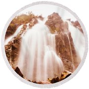 Waratah Wild Waterfall Round Beach Towel