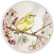 Warbler In Apple Blossoms Round Beach Towel