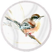 Warbler Songbird Art  Round Beach Towel
