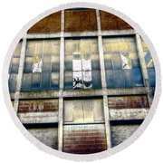 Round Beach Towel featuring the photograph Warehouse Wall by Wayne Sherriff