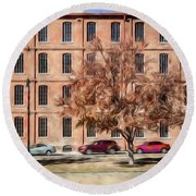 Warehouse With Tree Round Beach Towel