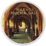 Round Beach Towel featuring the photograph Warhol Mucha Dali. Series Golden Prague by Jenny Rainbow
