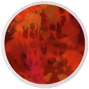 Warm Abstract 1 Round Beach Towel